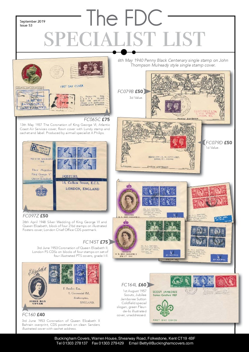FDC Specialist List 53 First Day Covers