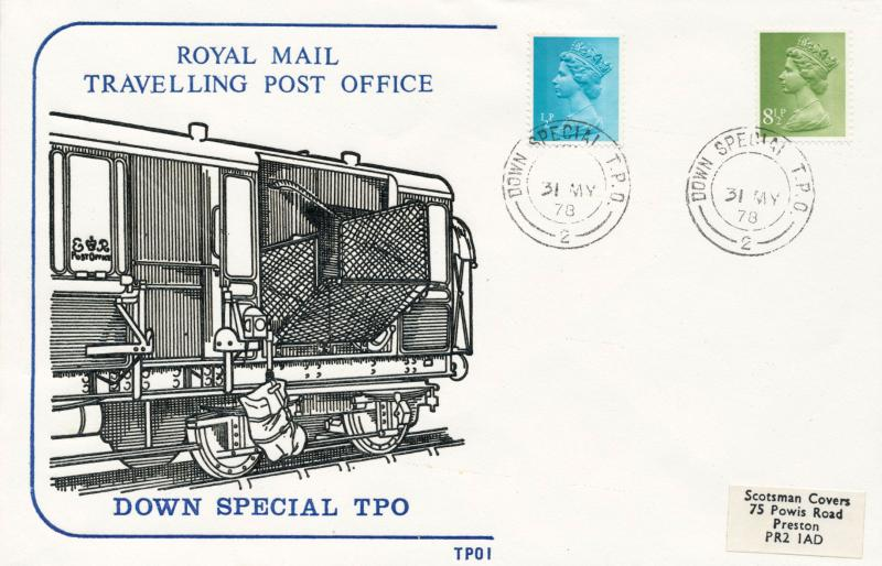 1st June 1978 Travelling Post Office Down Special Side 1