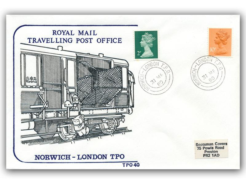 31st March 1980 Travelling Post Office Norwich to London