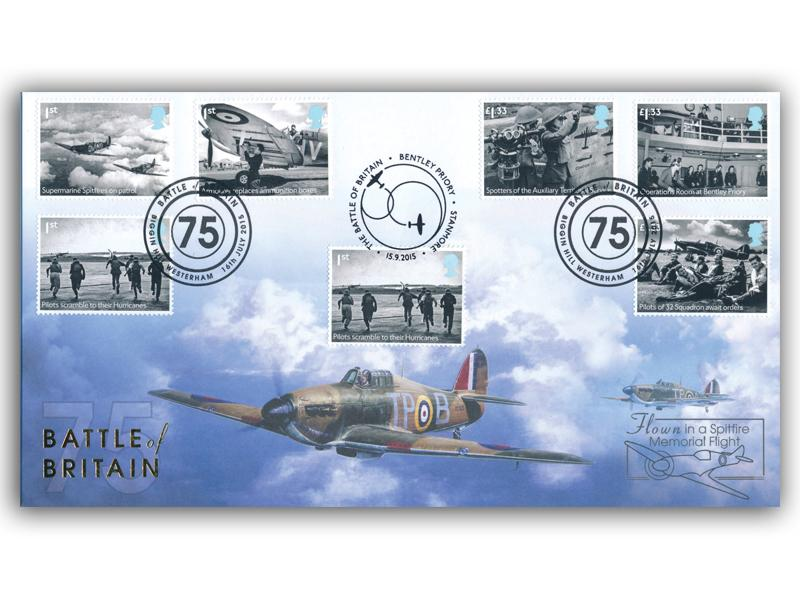 75th Anniversary of Battle of Britain Stamps from Miniature Sheet Doubled Cover