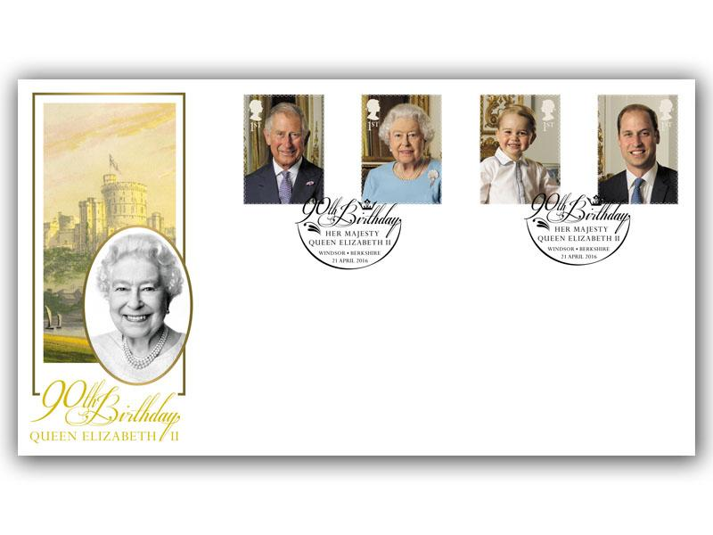 HM The Queens 90th Birthday Stamps from the Miniature Sheet Cover