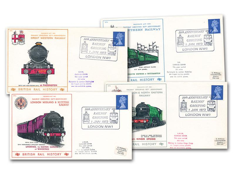 1973 50th Anniversary of the Railway Grouping set of four covers
