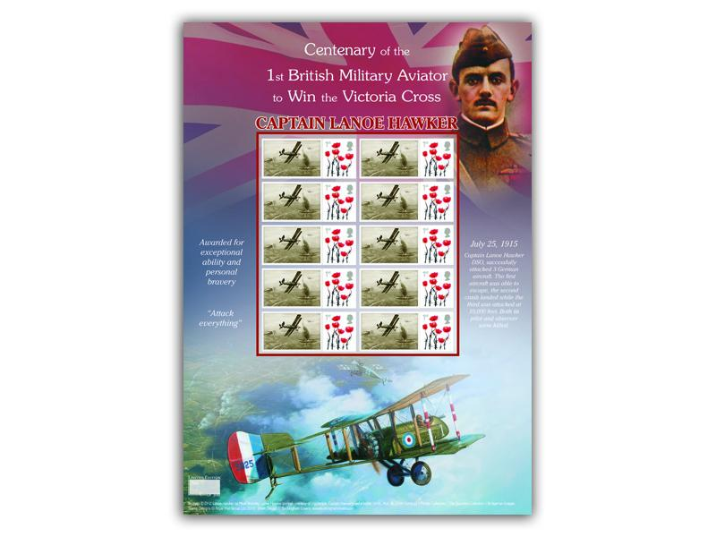 Captain Lanoe Hawker Stamp Sheet Presentation Pack