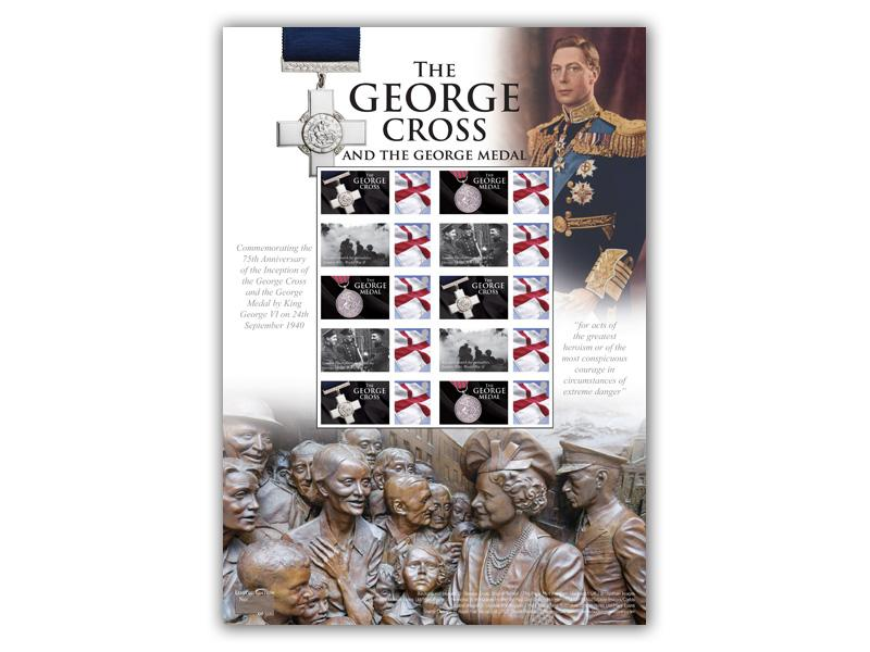 75th Anniversary of the George Cross Stamp Presentation Sheet