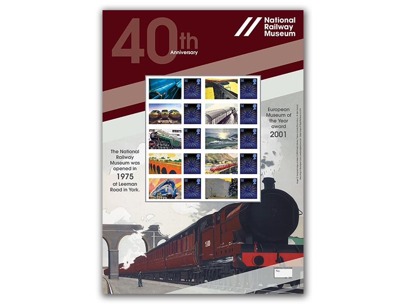 40th Anniversary of the National Railway Museum Stamp Sheet