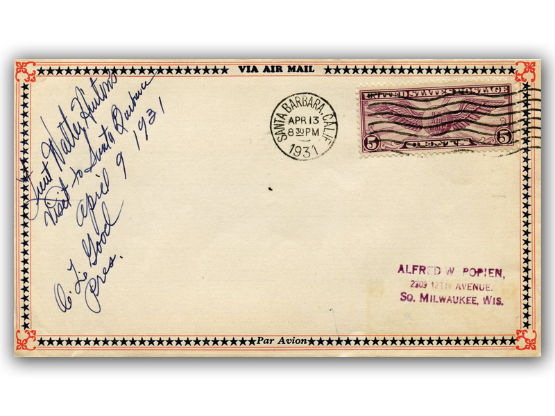 Walter Hinton signed 1931 Service to Aviation US Tour