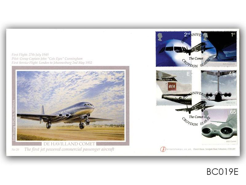 50th Ann of Passenger Jet Aviation - De Havilland Comet Stamps Cover