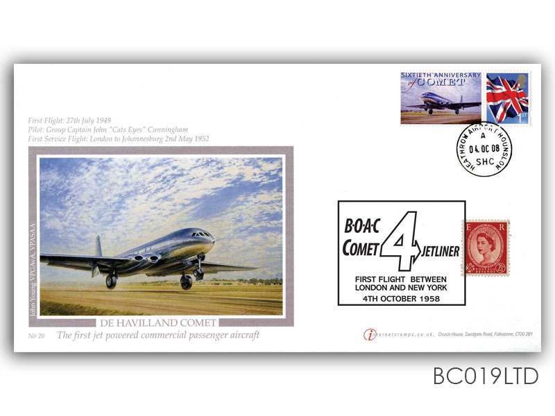 50th Ann of Comet's First Flight - De Havilland Comet Single Stamp & Label