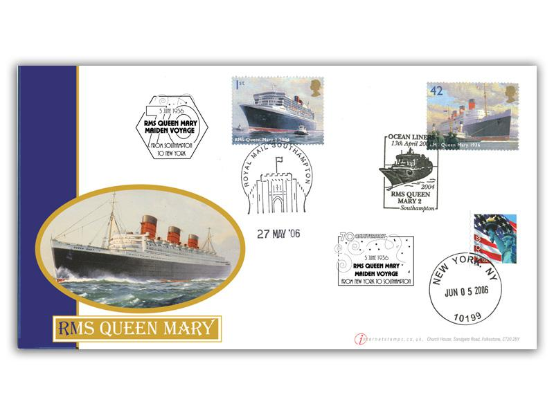 Ocean Liners - RMS Queen Mary Triple Postmarked Cover
