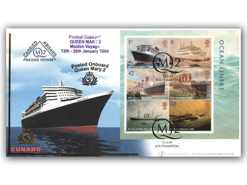 Ocean Liners - QM2 Miniature Sheet Carried Aboard Maiden Voyage Cover