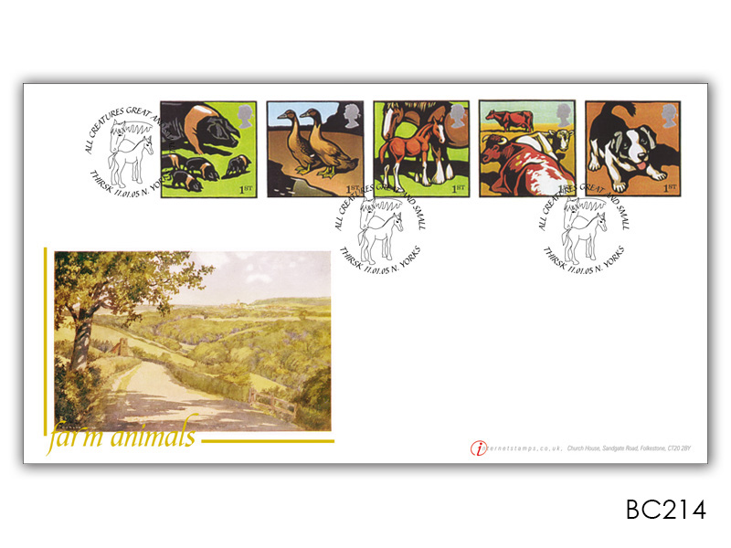 Farm Animals Pigs - Set of 5 Stamps