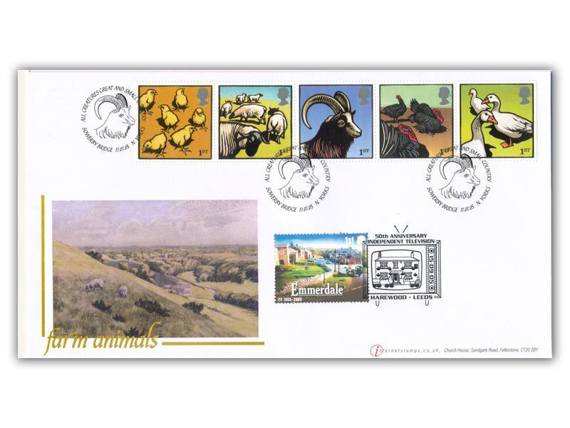 Farm Animals Sheep - Set of 5 Stamps Doubled Cover