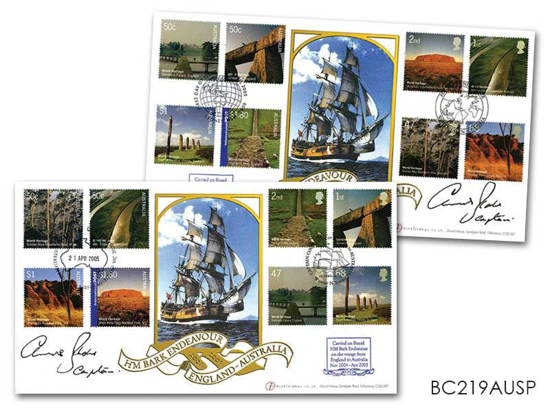 World Heritage Sites - HM Bark Endeavour Pair of Covers Signed Captain Blake