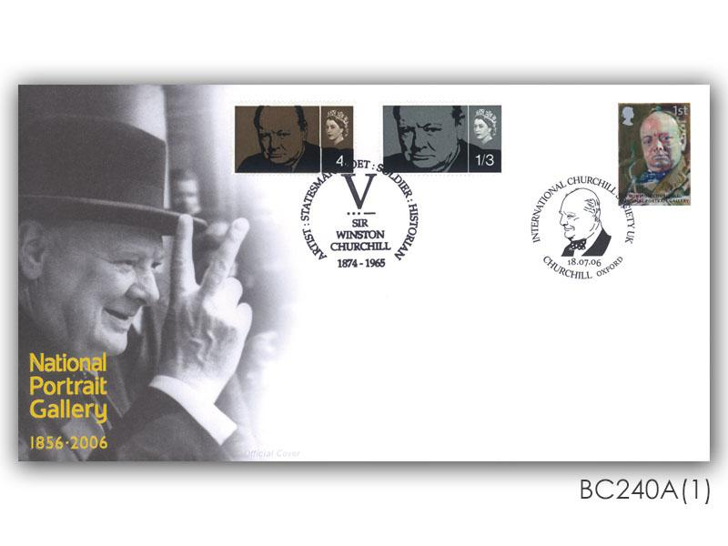National Portrait Gallery - Sir Winston Churchill Single Stamp Cover
