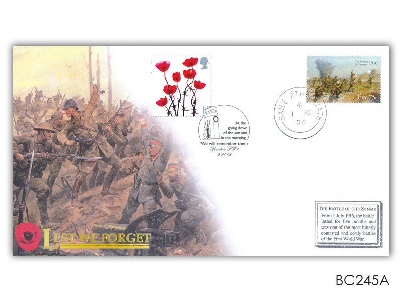 Lest We Forget 2006 Irish Battle of the Somme Single Stamp Cover