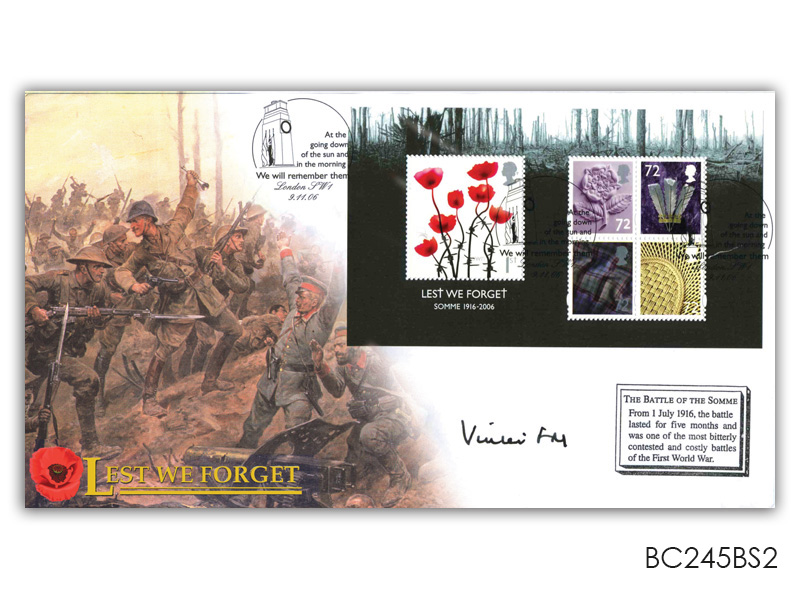 Lest We Forget 2006 Miniature Sheet Cover with Cenotaph Postmark