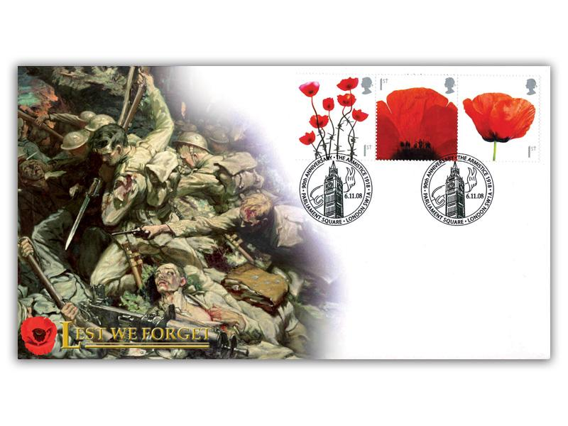 Lest We Forget 2006 - 3 Poppy Stamps