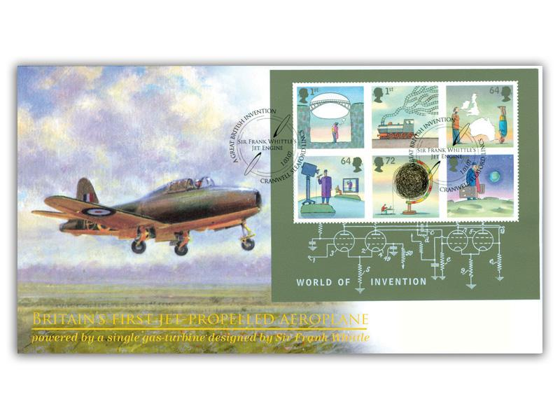 World of Invention: Britains First Jet Propelled Aeroplane Miniature Sheet Cover