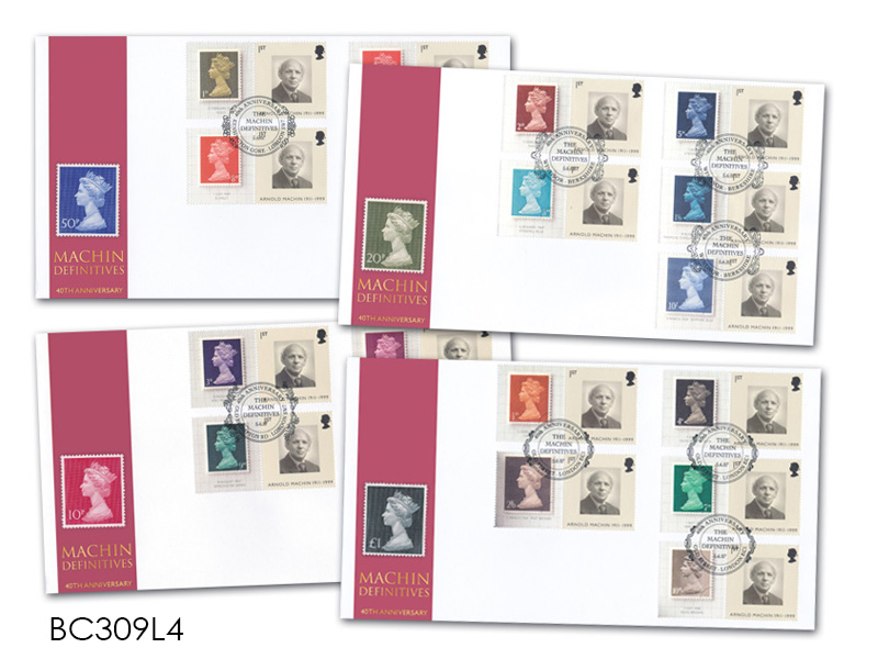 40th Anniversary of the Machin Definitives Set of 4 Smilers Covers