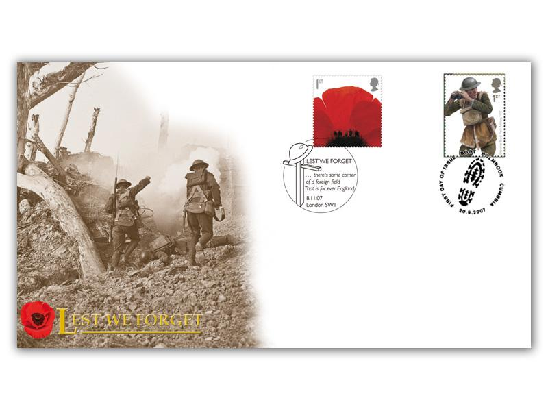 Lest We Forget 2007 Single Stamp Doubled Cover