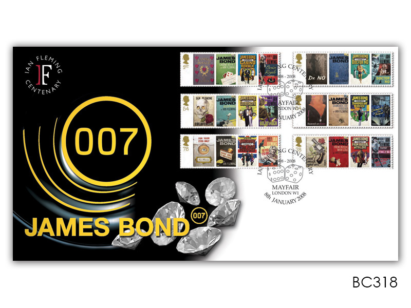 James Bond Ian Fleming Centenary Diamonds Stamps Cover
