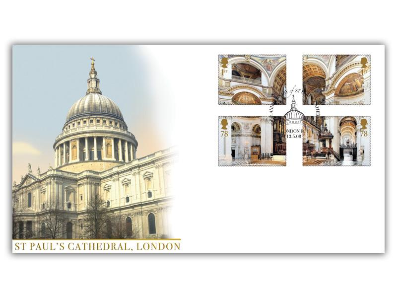 Cathedrals - St Pauls Cathedral Stamps torn from the Miniature Sheet
