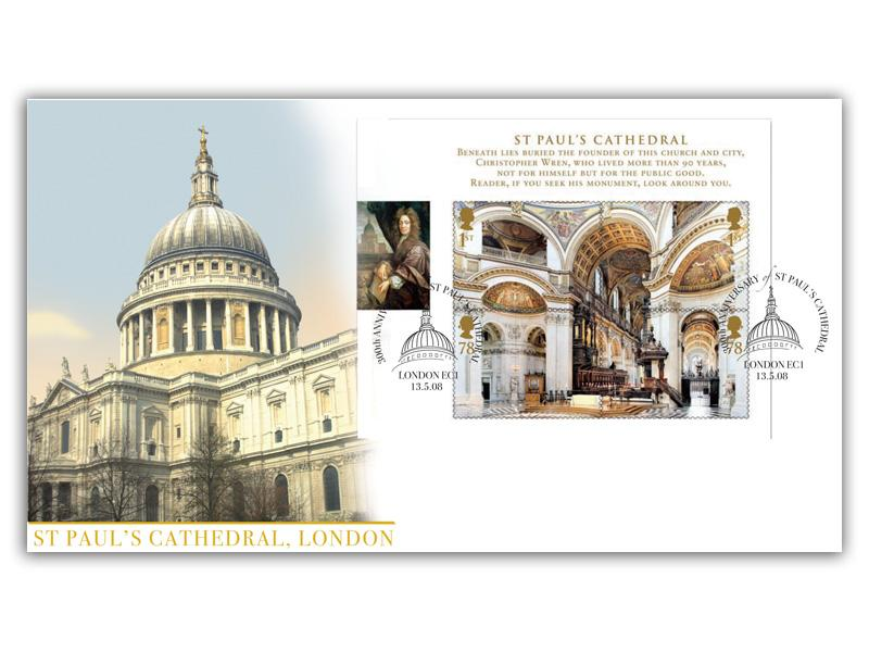 Cathedrals - St Paul's Cathedral Miniature Sheet Cover