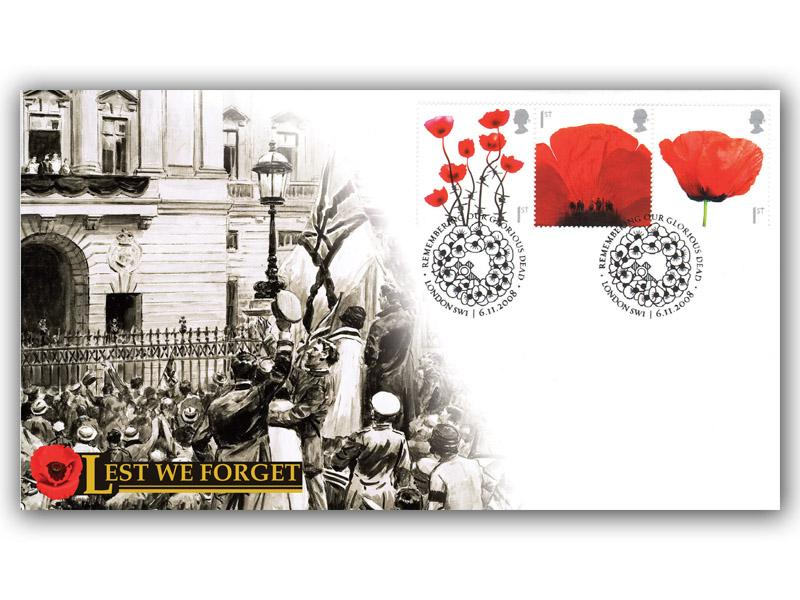 Lest we Forget 2008 Poppy Stamps Cover