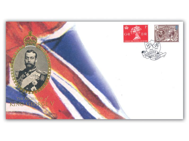 Centenary of King George V Accession stamps taken from the Miniature Sheet