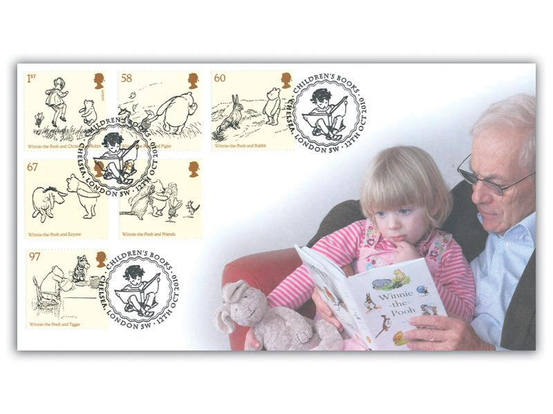 Childrens Books - Winnie the Pooh Stamps on the Miniature Sheet Cover