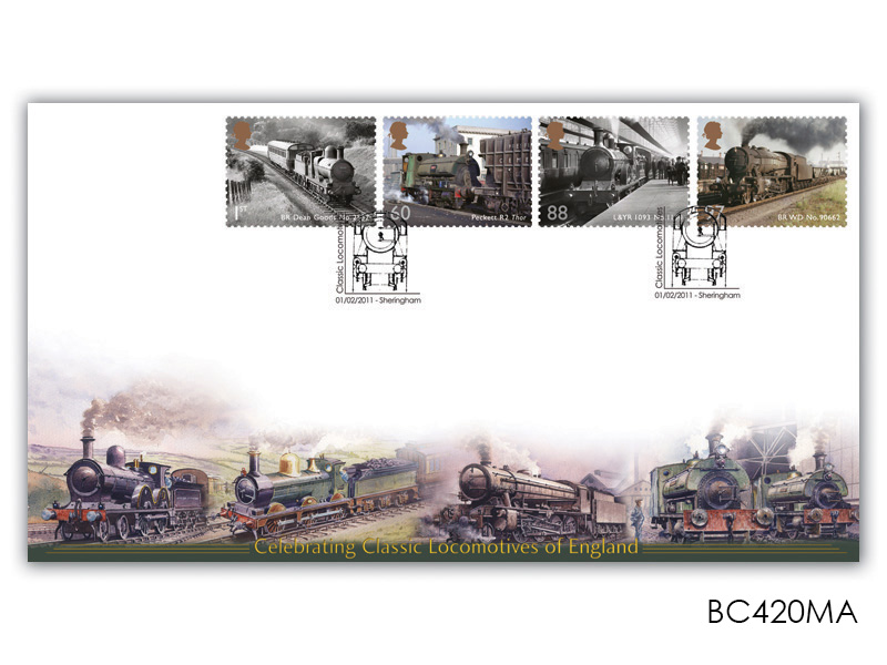 Classic Locomotives of England Stamps taken from the Miniature Sheet