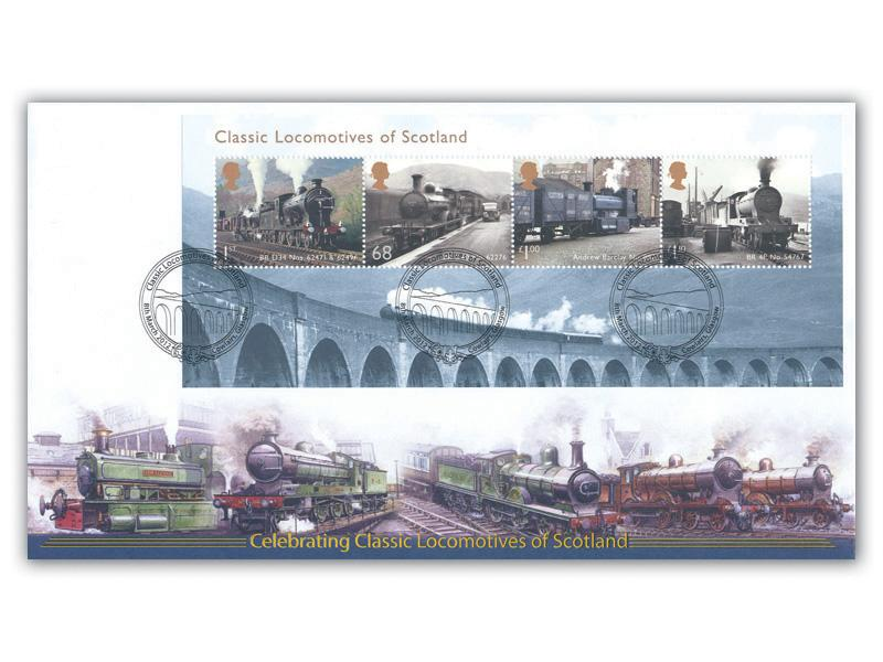 Classic Locomotives of Scotland Miniature Sheet Cover
