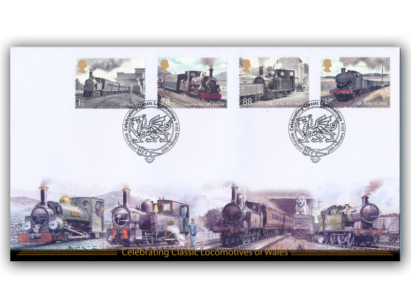 Classic Locos of Wales Stamps torn from the Miniature Sheet