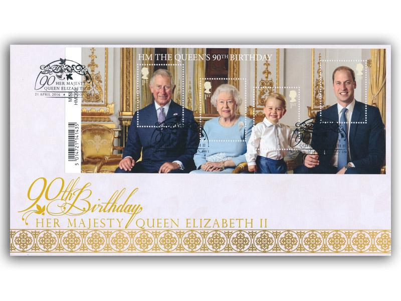HM The Queens 90th Birthday Barcode Miniature Sheet Cover