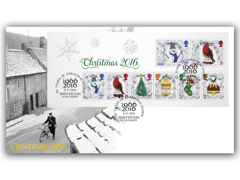 Celebrating 50 Years of Christmas Stamps Miniature Sheet Cover 2016
