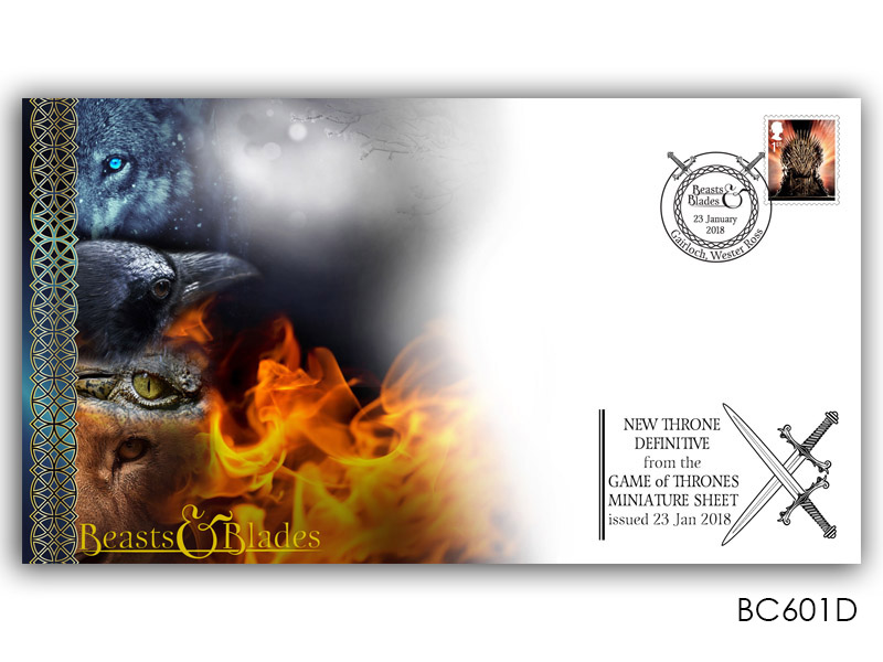 Game of Thrones - Beasts & Blades PSB Cover with Single Iron Throne Definitive Stamp