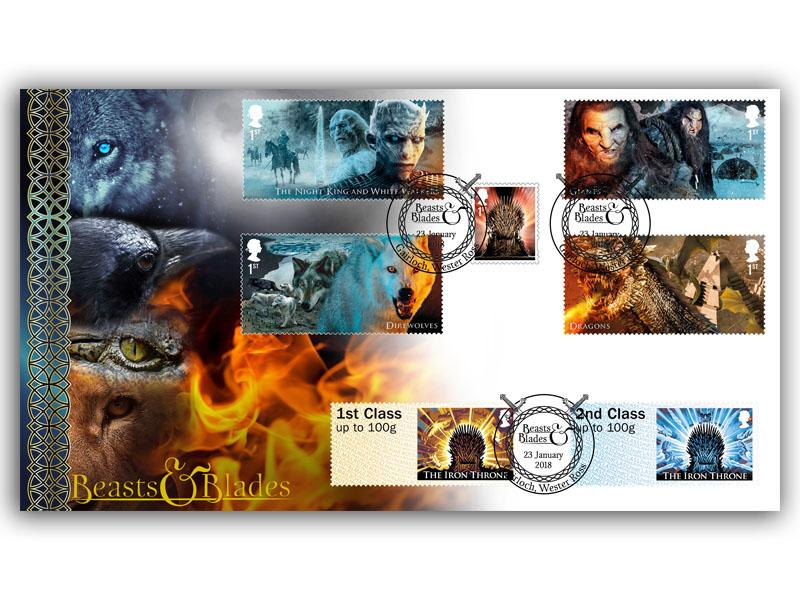 Game of Thrones - Beasts & Blades Full Set Stamps Taken From the Miniature Sheet