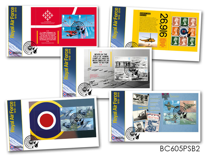 100 Years of the Royal Air Force Prestige Booklet Set of 5 Covers