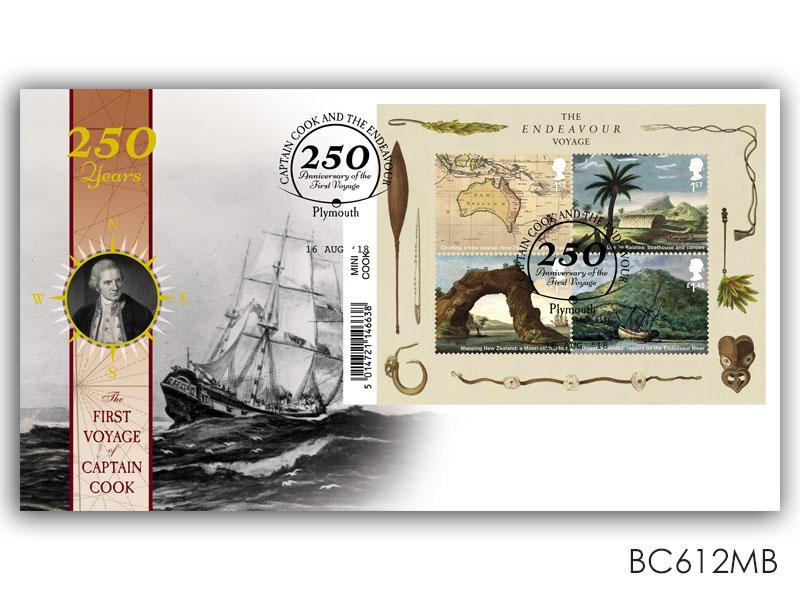 250 Years of the First Voyage of Captain Cook Barcode Miniature Sheet Cover
