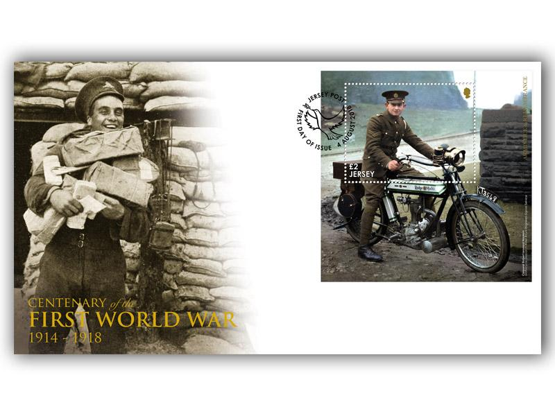 Jersey Great War Centenary Miniature Sheet Cover