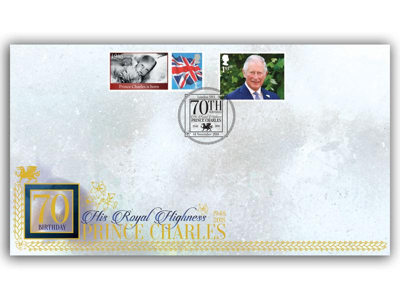 HRH Prince Charles 70th Birthday Stamp and Label Cover