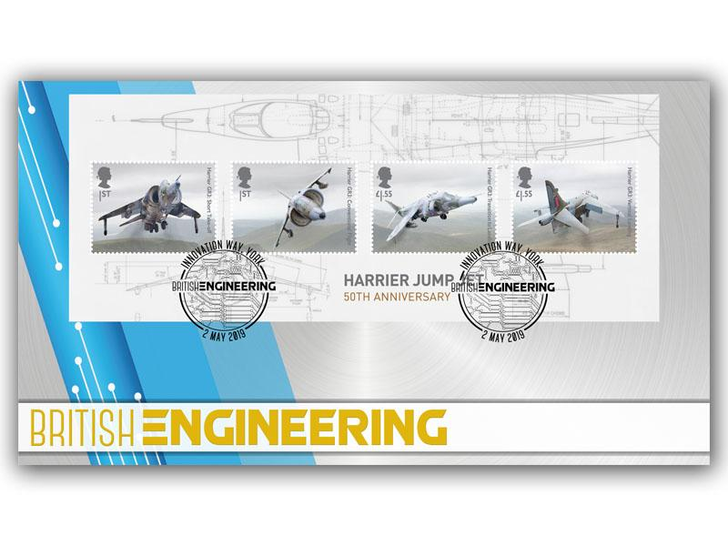 British Engineering Cover with the Harrier Jump Jet Miniature Sheet
