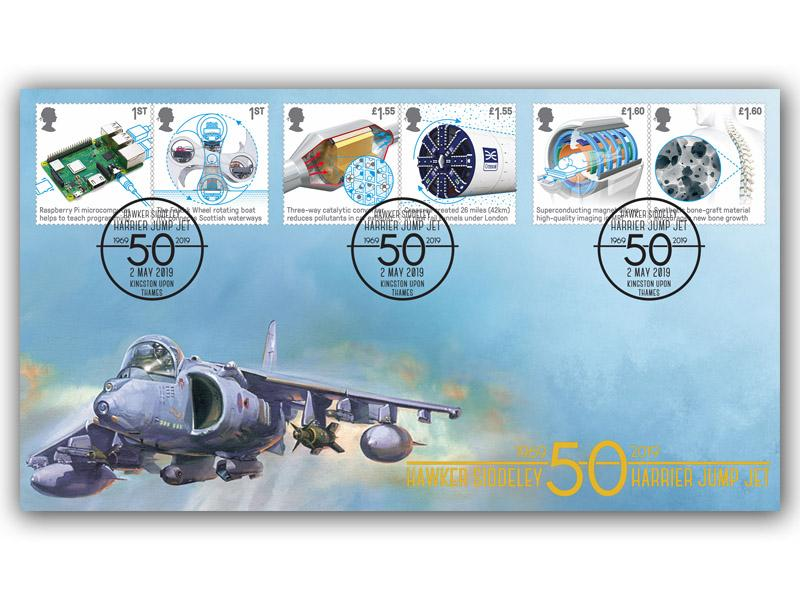 Harrier Jump Jet with the British Engineering Stamps