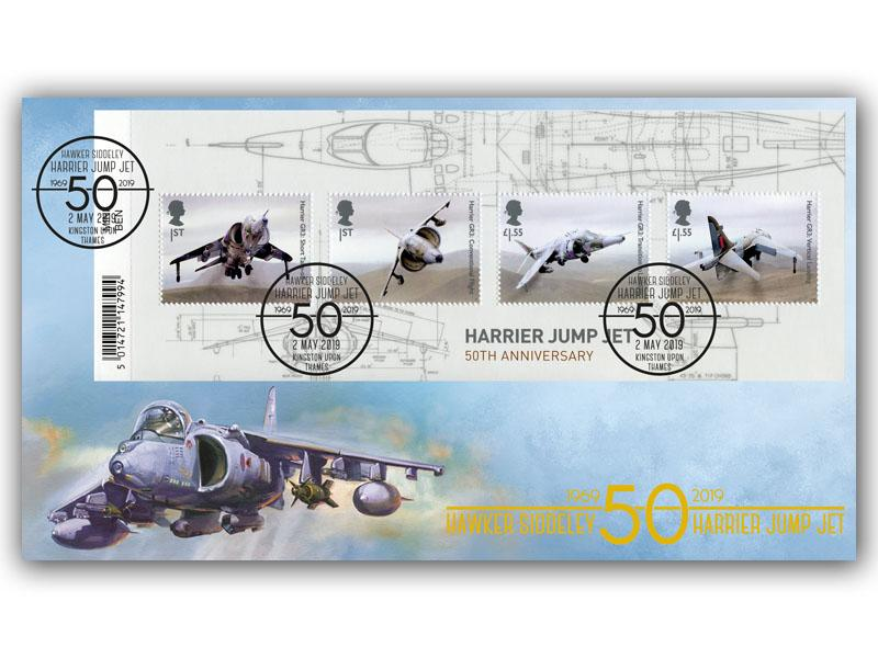 British Engineering-Harrier Jump Jet 50th Anniversary Barcode Miniature Sheet