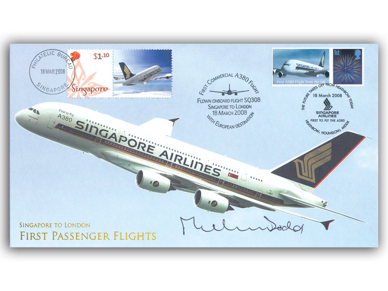 2008 Airbus cover, flown from Singapore to London, signed by Michael Dodd