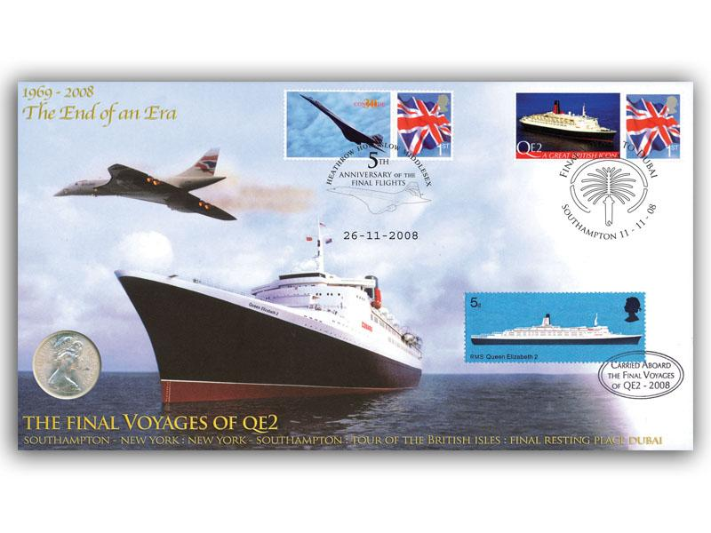 End of an Era Concorde & QE2 Coin Cover