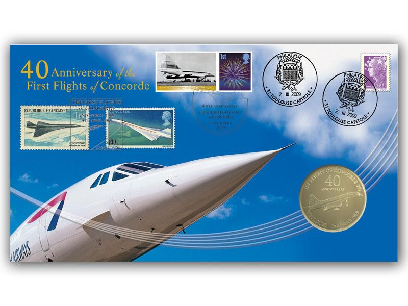 40th Anniversary of the First Flights of Concorde Coin Cover