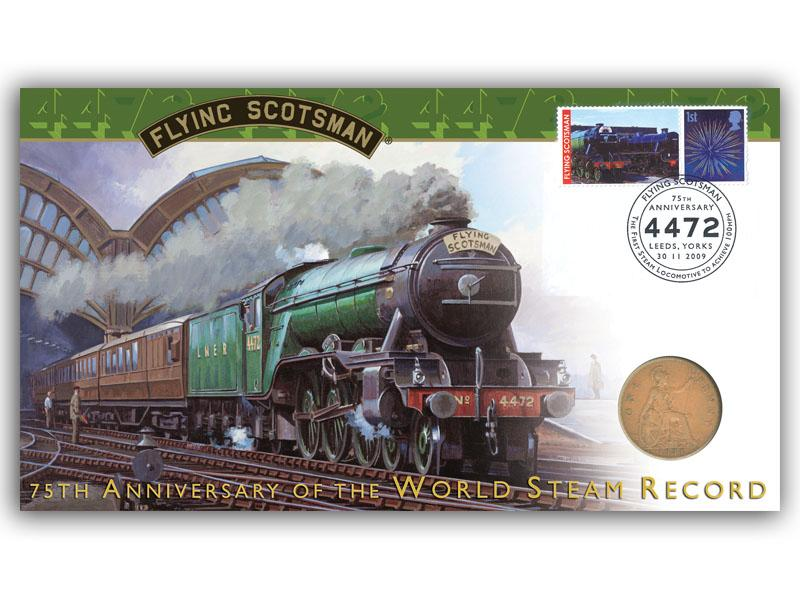 Flying Scotsman 75th Anniversary ofo the World Steam Record Coin Cover