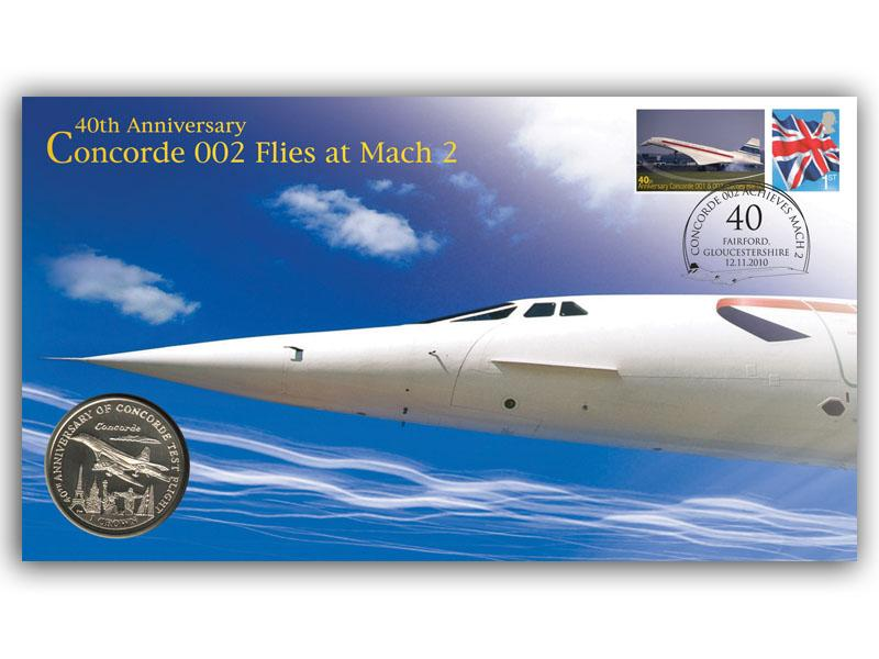 Concorde 002 Flies At Mach 2 - 40th Anniversary Coin Cover