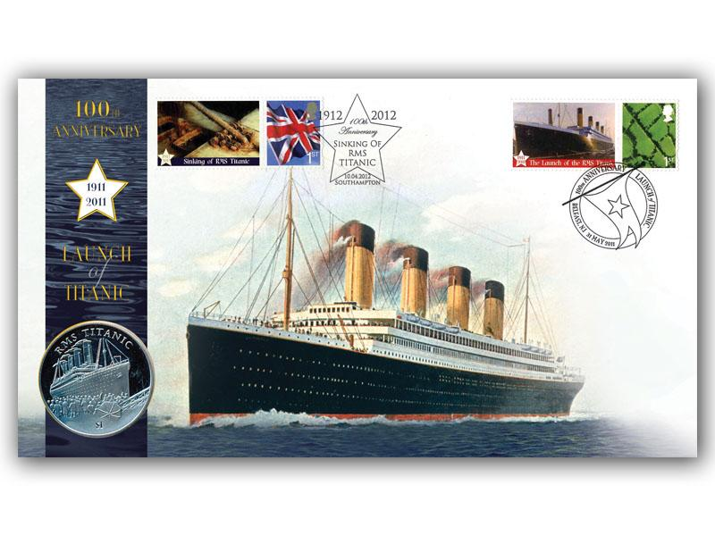 Titanic Launch Doubled Coin Cover